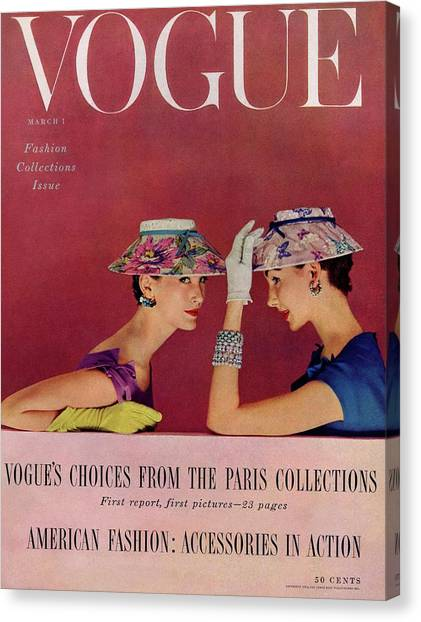 Old Fashioned Canvas Print - A Vogue Cover Of Models Wearing Lilly Dache Hats by Richard Rutledge