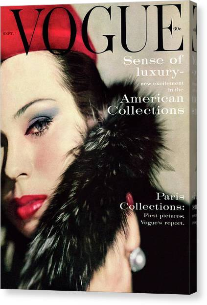 Red Lipstick Canvas Print - A Vogue Cover Of Morris Wearing A Fur Collar by Karen Radkai