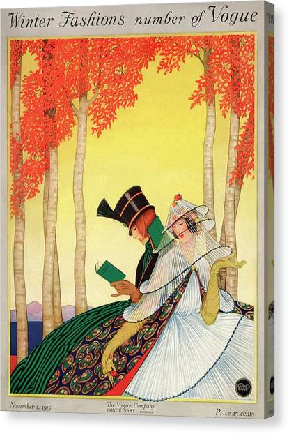 A Vogue Cover Of Women Sitting In A Forest Canvas Print