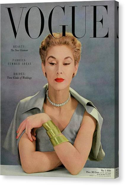 Updo Canvas Print - A Vogue Magazine Cover Of Lisa Fonssagrives by John Rawlings