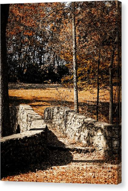 A Walk Along The Old Stone Path Canvas Print