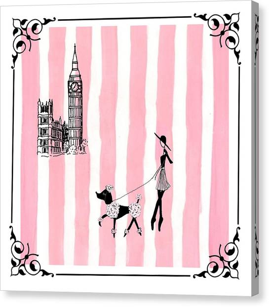 Pen And Ink Drawing Canvas Print - A Walk In London by Stephanie Grant