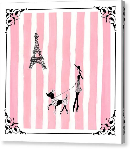 Pen And Ink Drawing Canvas Print - A Walk In Paris by Stephanie Grant