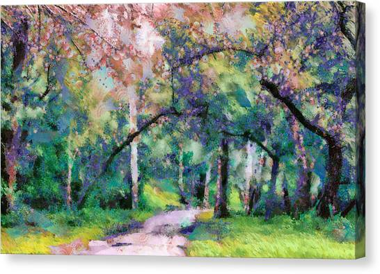 Canvas Print featuring the mixed media A Walk Inside The Rainbow Forest by Priya Ghose