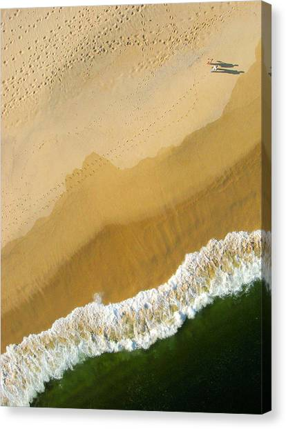 Rights Managed Images Canvas Print - A Walk On The Beach. A Kite Aerial Photograph. by Rob Huntley