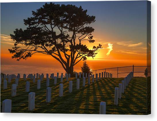 Fort Rosecrans National Cemetery Canvas Print - A Warm Chill by Kenny  Noddin