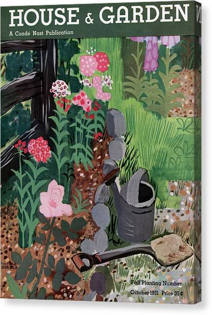 Shovels Canvas Print - A Watering Can And A Shovel By A Flower Bed by Witold Gordon