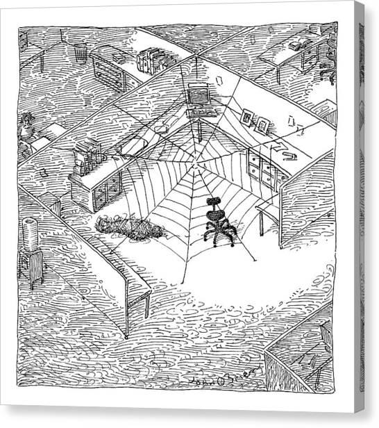 Spider Web Canvas Print - A Web Has Entangled A Man At His Cubicle by John O'Brien