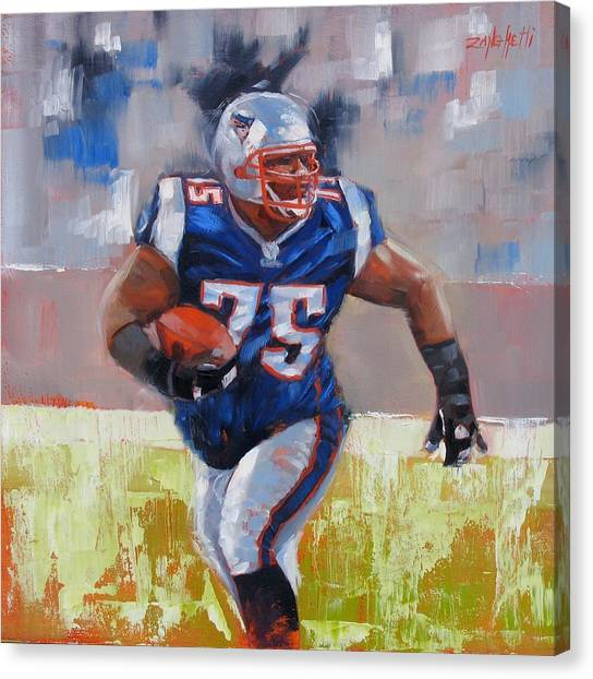 New England Patriots Canvas Print - A Well Conditioned Athlete by Laura Lee Zanghetti