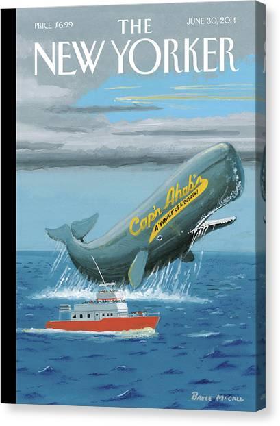 Burger Canvas Print - A Whale Advertises A Burger Shop by Bruce McCall