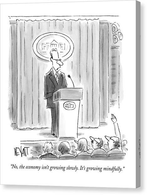 A White House Spokesman Addresses A Press Canvas Print