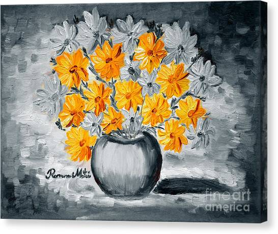 A Whole Bunch Of Daisies Selective Color I Canvas Print