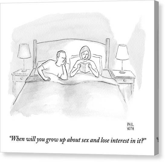 A Wife Speaks To Her Husband In Bed Canvas Print