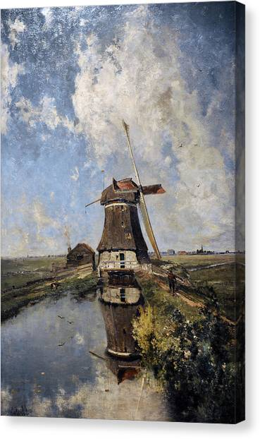Rijksmuseum Canvas Print - A Windmill On A Polder Waterway, Known As In The Month Of July, C. 1889, By Paul Joseph Constantin by Bridgeman Images