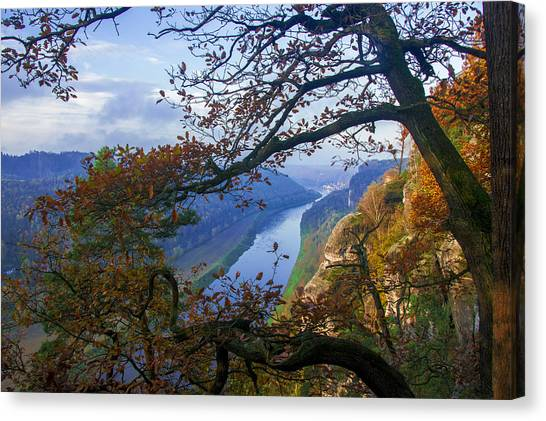 A Window To The Elbe In The Saxon Switzerland Canvas Print