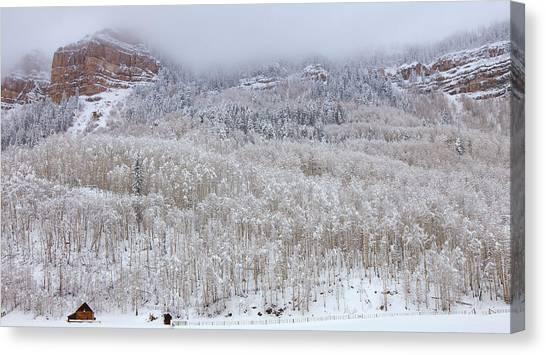 Snow Bank Canvas Print - A Winter Cabin by Darren  White