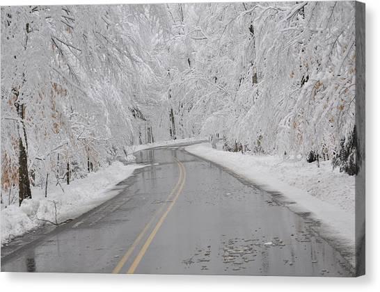 A Winter Drive In Door County. Canvas Print