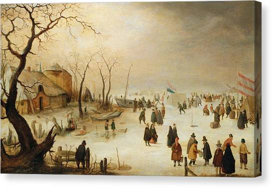 Figure Skating Canvas Print - A Winter River Landscape With Figures On The Ice by Hendrik Avercamp
