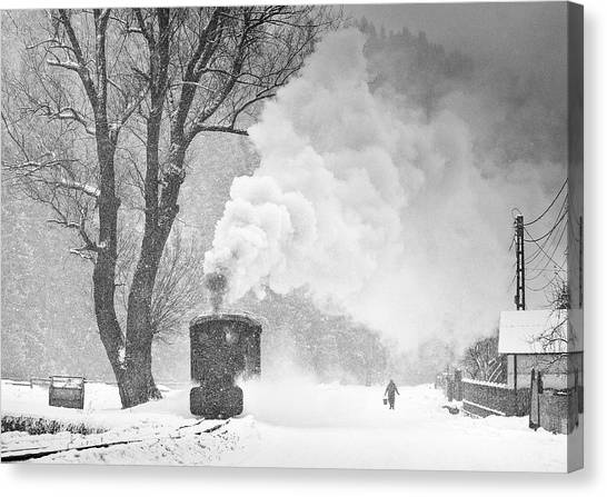 Steam Trains Canvas Print - A Winter's Tale by Sorin Onisor