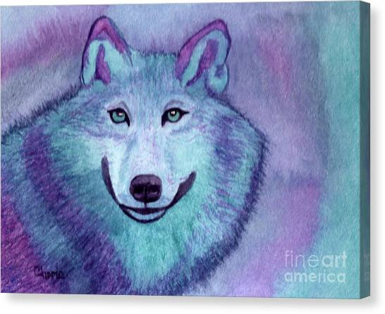 A Wolf Of A Different Color Canvas Print by Vikki Wicks