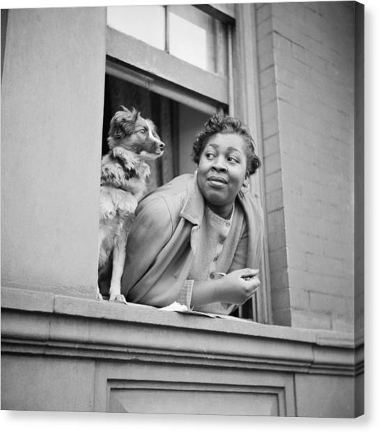 Harlem Canvas Print - A Woman And Her Dog by Gordon Parks
