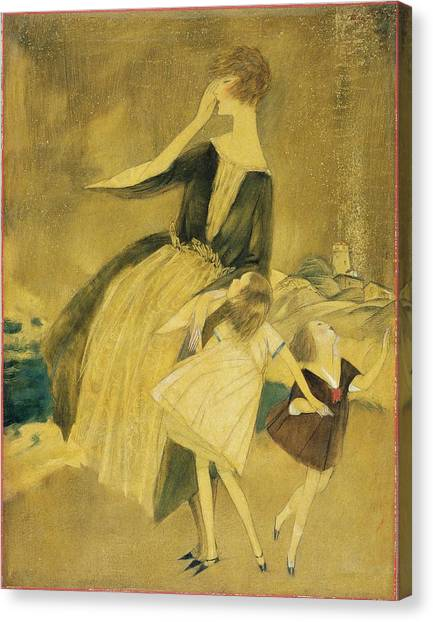 Indoors Canvas Print - A Woman And Two Little Girls Walking by Henry R Sutter
