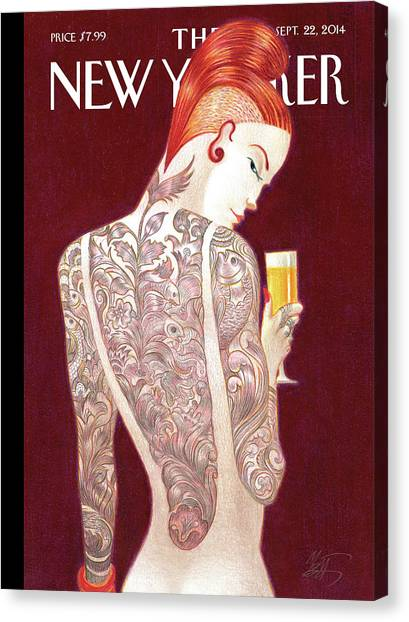 Body Canvas Print - A Woman Covered In Tattoos Looks by Lorenzo Mattotti