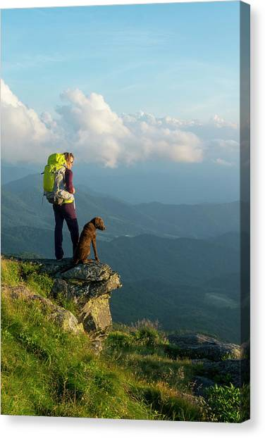 Pisgah National Forest Canvas Print - A Woman Hiking On The Roan Highlands by Kennan Harvey