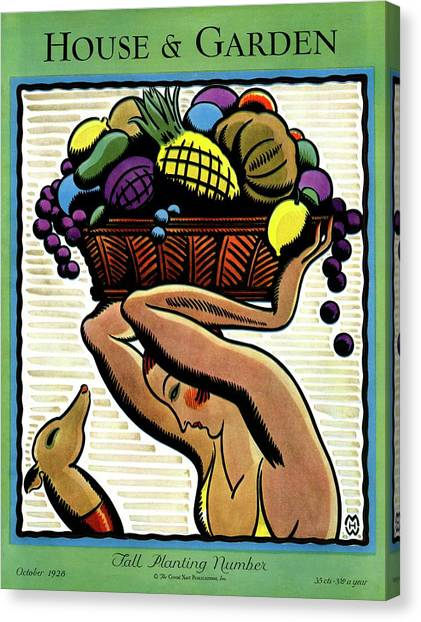 A Woman Holding A Basket Of Fruit Canvas Print