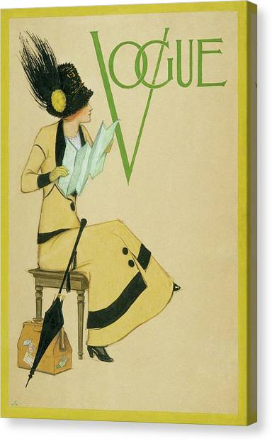 A Woman Holding A Map For Vogue Canvas Print