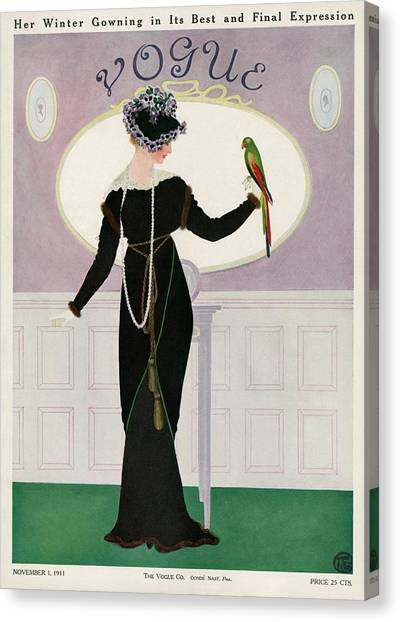 A Woman Holding A Parakeet Canvas Print by Mrs. Newell Tilton