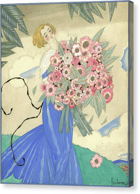 A Woman In A Blue Dress Holding A Bouquet Canvas Print
