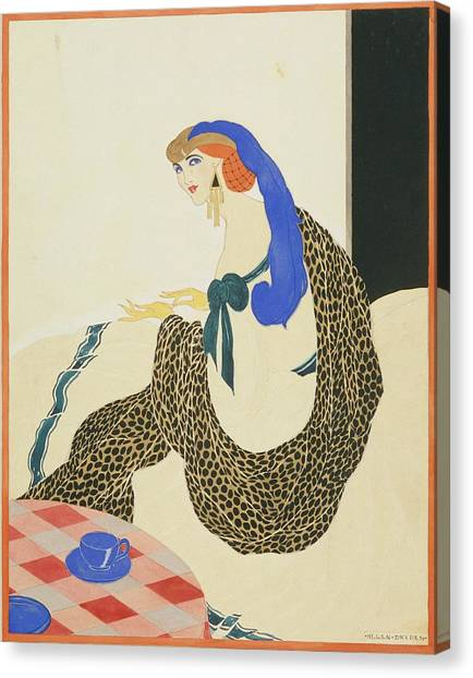Indoors Canvas Print - A Woman In A White Gown And Leopard Sash by Helen Dryden