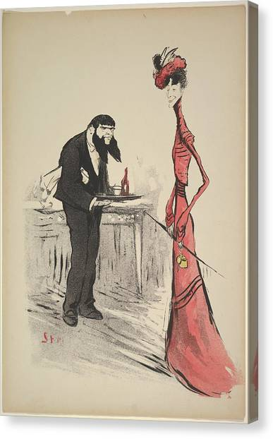 Goursat Canvas Print - A Woman In Red And A Waiter by Georges Goursat [Sem]