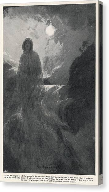 A Woman In White Haunts Aira  Force Canvas Print by Mary Evans Picture Library