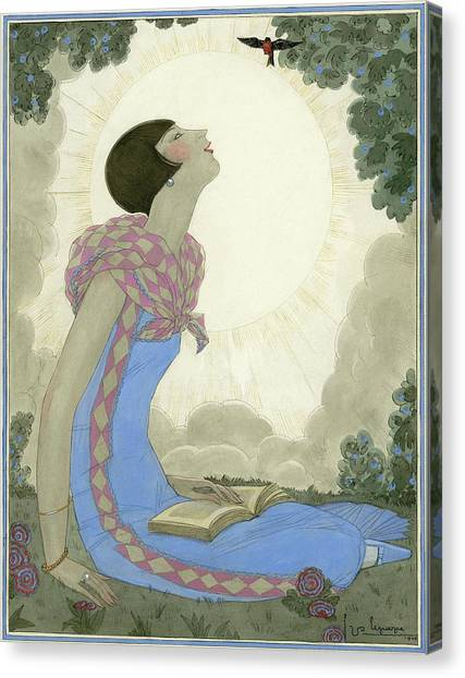 A Woman Looking At A Small Bird Canvas Print by Georges Lepape