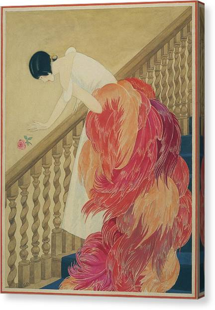 A Woman On A Staircase Canvas Print