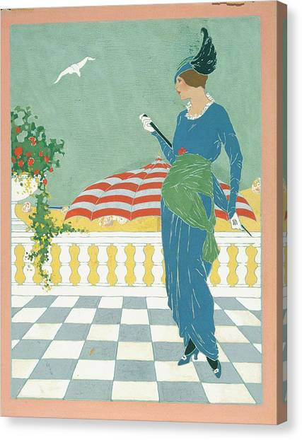A Woman On A Terrace Canvas Print by Will Hammell