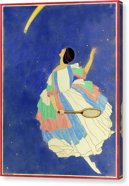 A Woman Playing Tennis In A Starscape Canvas Print