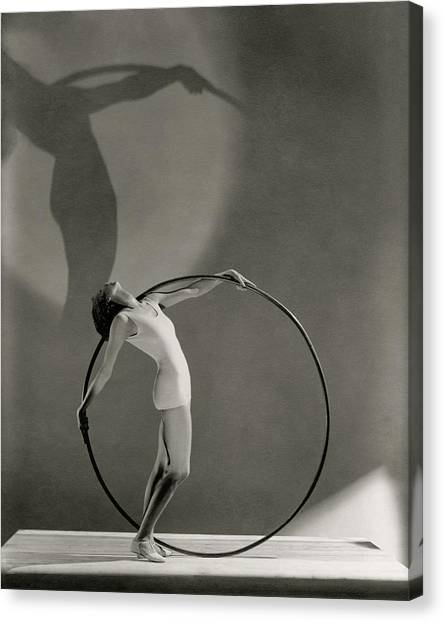 Sports Clothing Canvas Print - A Woman Posing With A Hula Hoop by George Hoyningen-Huene