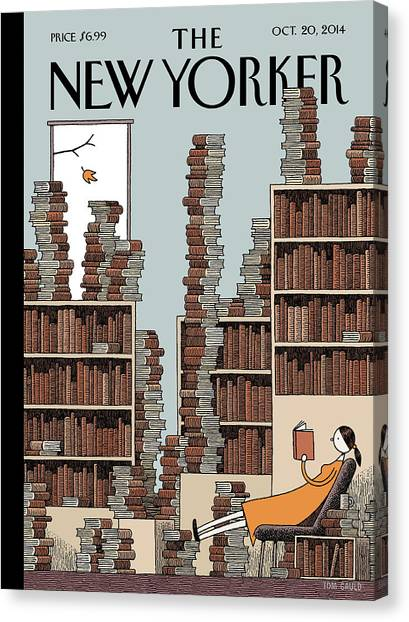 Fall Library Canvas Print by Tom Gauld