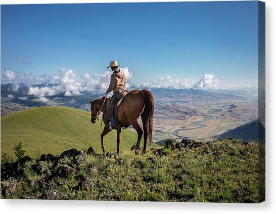 Horseback Riding Canvas Print - A Woman Rides The Range by Cory Richards