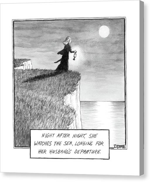 2013 Canvas Print - A Woman Runs In The Dark Toward A Cliff by Matthew Diffee