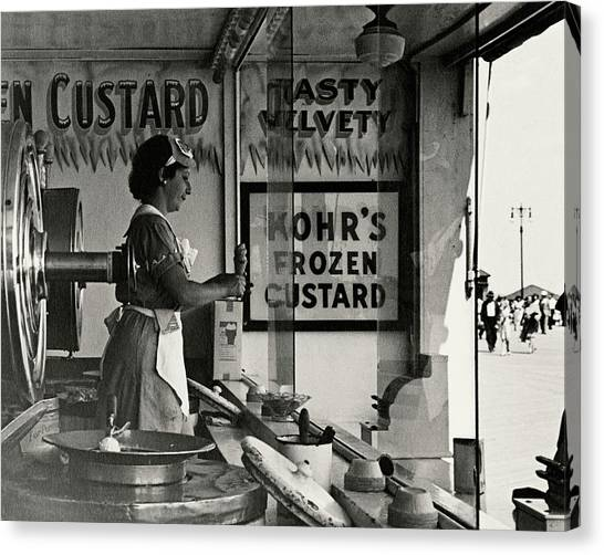 A Woman Selling Custard Canvas Print by Lusha Nelson