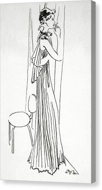 A Woman Smoking Canvas Print by Abrams