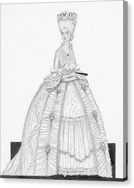 A Woman Wearing A Dress From 1790 Canvas Print by Claire Avery