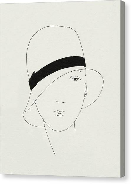 A Woman Wearing A Hat Canvas Print by Jean Pages