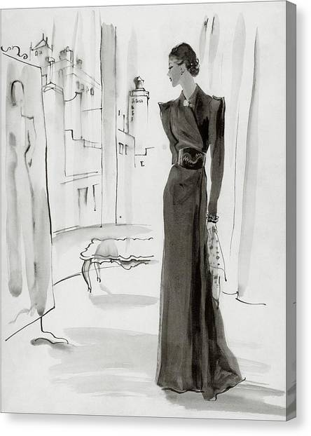 A Woman Wearing A House-coat Canvas Print by Rene Bouet-Willaumez
