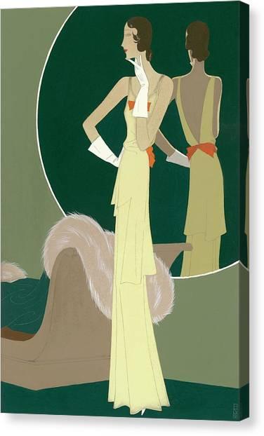 A Woman Wearing A Mainbocher Dress Canvas Print by Eduardo Garcia Benito