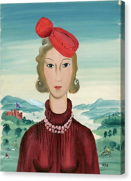 Cheerleading Canvas Print - A Woman Wearing A Pillbox Hat by Rene Bouet-Willaumez